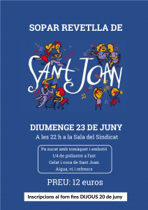 cartell sopar de sant joan 2019